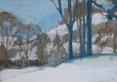 Robb Beebe Gouache on paper of an atmospheric wintry forest scene signed Robb Beebe