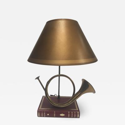 Robert Abbey Vintage Brass Looped Hunters Horn Bugle Made into a Table Lamp by Robert Abbey