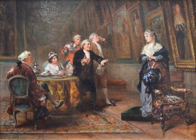 Robert Alexander Hillingford The Long Gallery Hardwick Hall 19th Century Oil Painting English Stately Home