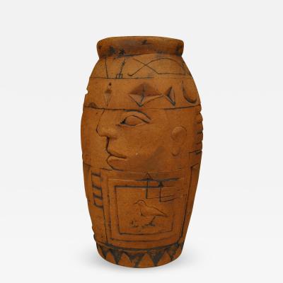 Robert Bentley American Post War Design Terra Cotta Egyptian Design Vase
