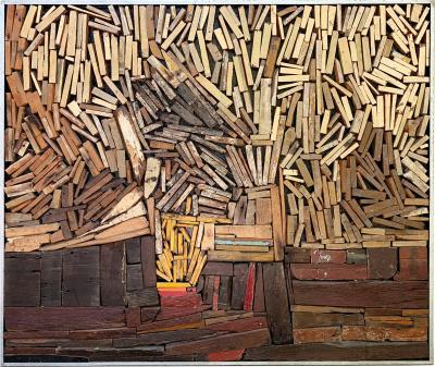 Robert Biancalana Yellow Bush Wood Painting Three Dimensional