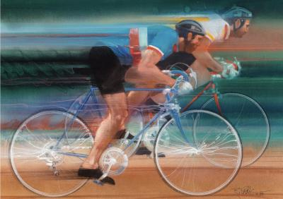 Robert Bob Peak Cycling Two men Sports Racing on Bicycles