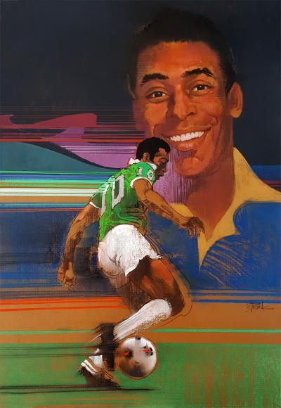 Robert Bob Peak Pel Brazilian footballer Soccer Star Illustration