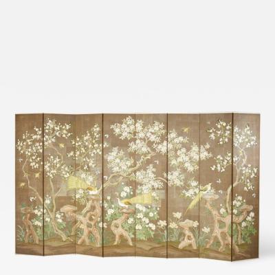 Robert Crowder Hand Painted Eight Panel Screen by Robert Crowder