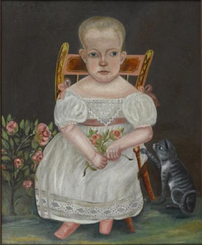 Robert Darling Folk Art Portrait of a Child Darling