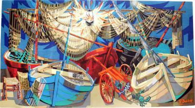 Robert Debieve Barques et Filets Maritime Colorful Tapestry Signed Robert Debieve