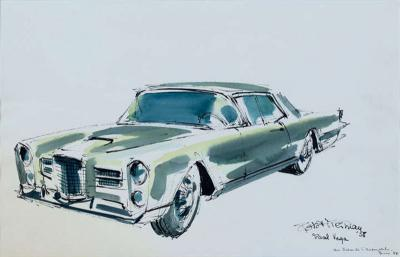 Robert Freiman Robert Freiman Watercolor Facel Vega Excellence Coupe 58