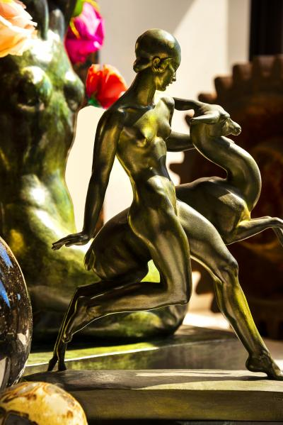 Robert Funk Art Deco Nude Girl and Fawn Statue Photograph