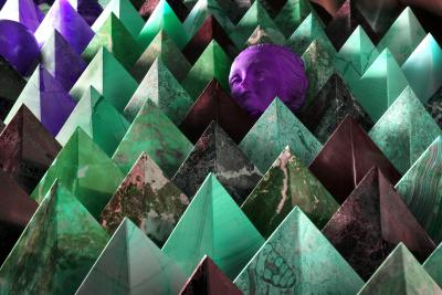 Robert Funk Pyramids with Terracotta Magenta Head