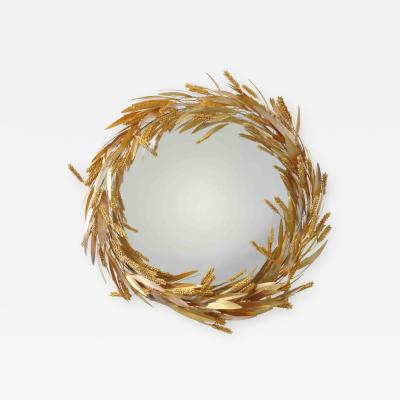 Robert Goossens Crown of wheat mirror by Robert Goossens circa 1970