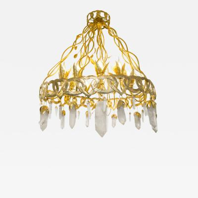 Robert Goossens Heart chandelier in bronze and rock crystal Robert Goossens circa 1970
