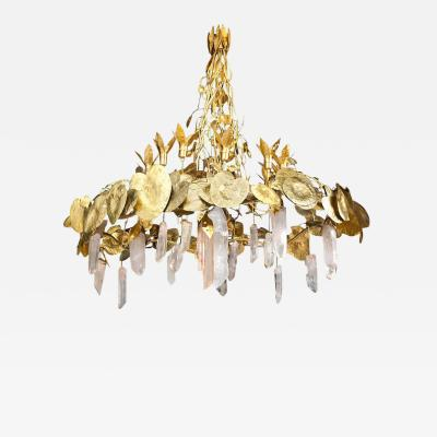 Robert Goossens Water Lillies Crystal Chandelier Robert Goossens for Crist bal Balenciaga 1970s