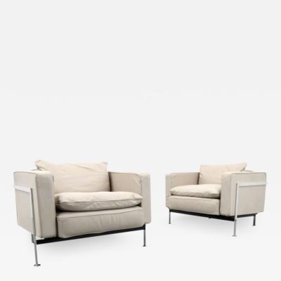 Robert Haussmann Pair of Robert Haussmann Leather Lounge Chairs