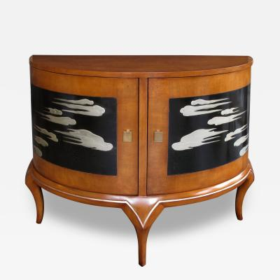 Robert Irwin A Chic American 1940s 2 door Demi Lune Cabinet by Robert W Irwin Co