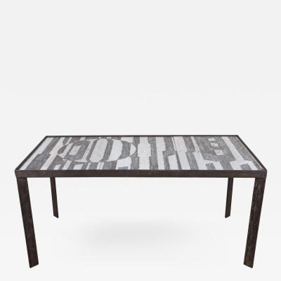Robert Jean Cloutier Ceramic Black and White Design Low Table by Cloutier France c 1960s