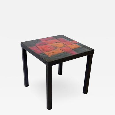 Robert Jean Cloutier French Ceramic Side Tables by Freres Cloutier