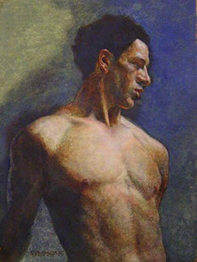 Robert Joseph McIntosh Nude Male in Blue