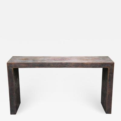 Robert Kuo Modern Robert Kuo Copper Faux Bois Console Table