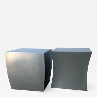 Robert Kuo Pair of Robert Kuo Attributed Brushed Steel Fang Bei Drum Stool Side End Tables