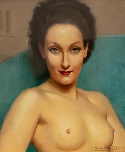 Robert Louis Raymond Duflos Pastel Portrait Female Nude