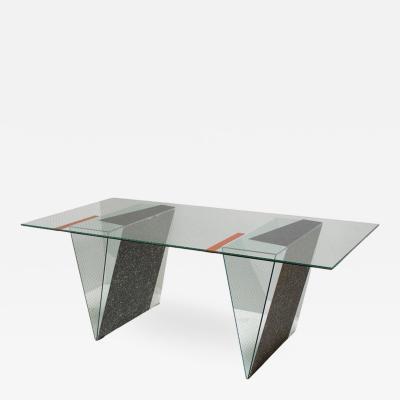 Robert Mangurian Memphis Glass Desk Custom Made by Architect Robert Mangurian for Grace Designs
