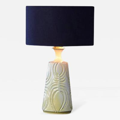 Robert Maxwell Hand Thrown Yellow Ceramic Lamp with Decorative Lines by Robert Maxwell