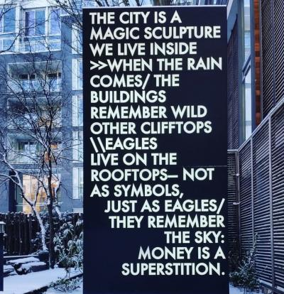 Robert Montgomery Poem in Lights to be Scattered in the Square Mile