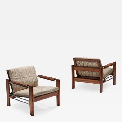 Robert Parry Walnut and Chrome Easy Chairs by Rob Parry for Gelderland