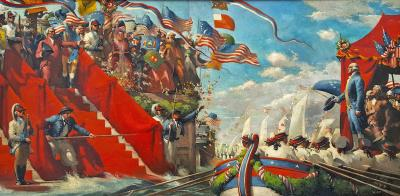 Robert Riggs George Washington in Marine Procession for New York Presidential Inauguration
