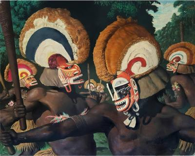 Robert Riggs Tribesmen with Headdresses