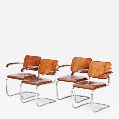 Robert Slezak 20th century Bauhaus Czech Chairs 4pcs