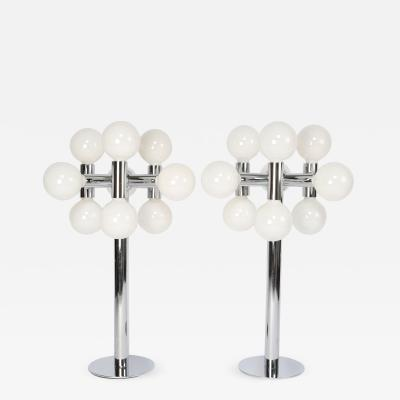 Robert Sonneman Bold 1970s Pair of Robert Sonneman Chrome Table Lamps