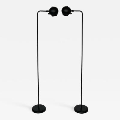Robert Sonneman Pair of Black Eyeball Floor Lamps by Robert Sonneman for George Kovacs