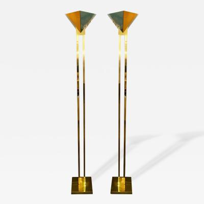 Robert Sonneman Pair of Brass and Lucite Torchiere Floor Lamps for Kovacs