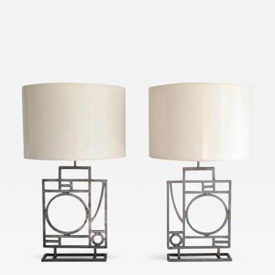 Robert Sonneman Pair of Postmodern Geometrical Form Table Lamps