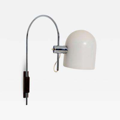 Robert Sonneman Robert Sonneman Modern Curved Chrome Wall Sconce Walnut Mount