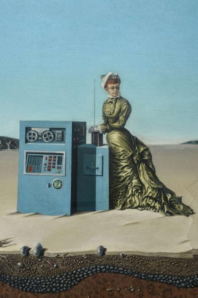 Robert Springfels Oil on Canvas Desert Landscape with Woman Computer Robert Springfels 1970