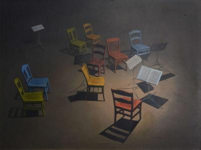 Robert Springfels Oil on Canvas Pro Musica by Robert Springfels 1975