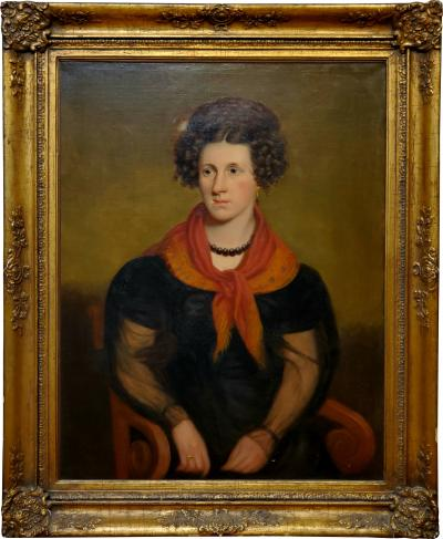 Robert Street American School Portrait of Rebecca Sterns by Robert Street circa 1840