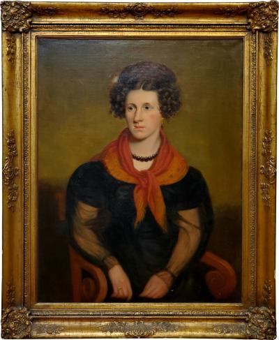 Robert Street American School Portrait of Rebecca Sterns by Robert Street circa 1840