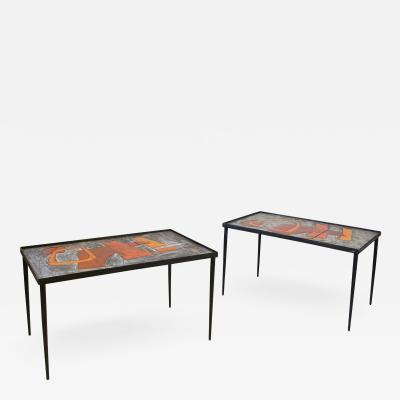 Robert and Jean Cloutier Pair of Robert and Jean Cloutier Ceramic Coffee Tables circa 1960 France