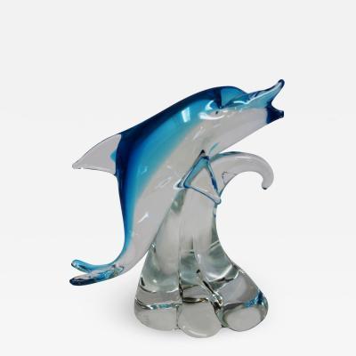 Roberto Beltrami Contemporary Murano Dolphin on Stand