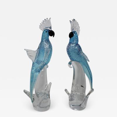 Roberto Beltrami Murano Glass Blue and Silver Parrots by Roberto Beltrami