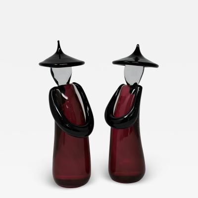 Roberto Beltrami Murano Glass Chinese Figurines by Roberto Beltrami a Pair