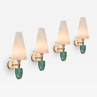 Roberto Giulio Rida A Set of 4 Italian Brass and Glass Pigna Sconces