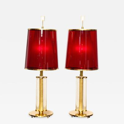 Roberto Giulio Rida Cono Rosso Pair of Table Lamps by Roberto Giulio Rida