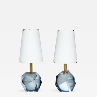 Roberto Giulio Rida Diamante Blu Pair of Table Lamps by Roberto Giulio Rida