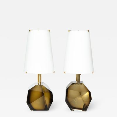 Roberto Giulio Rida Diamante Bronze Pair of Table Lamps by Roberto Giulio Rida