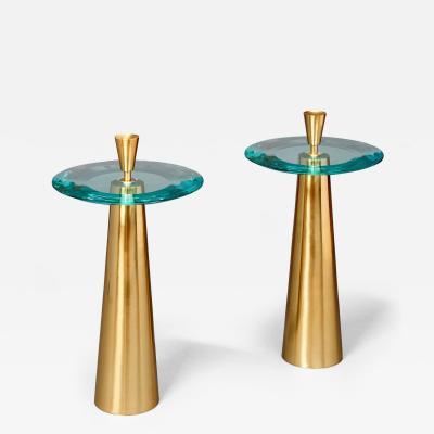 Roberto Giulio Rida Limited Edition Pair of Roberto Rida Glass Side Tables