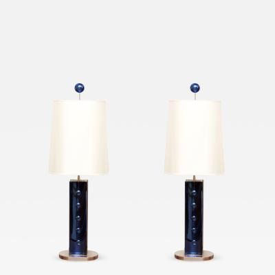Roberto Giulio Rida Pair of Blue Glass Table Lamps designed by Roberto Giulio Rida Italy